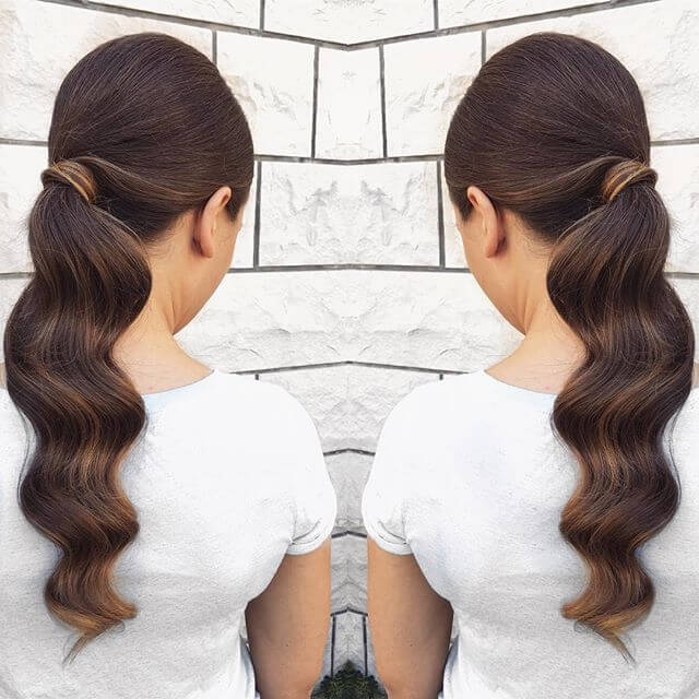 Styled Waterfall Ponytail for Wavy Hair